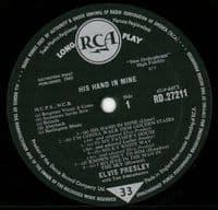 ELVIS PRESLEY His Hand In Mine Vinyl Record LP RCA 1961